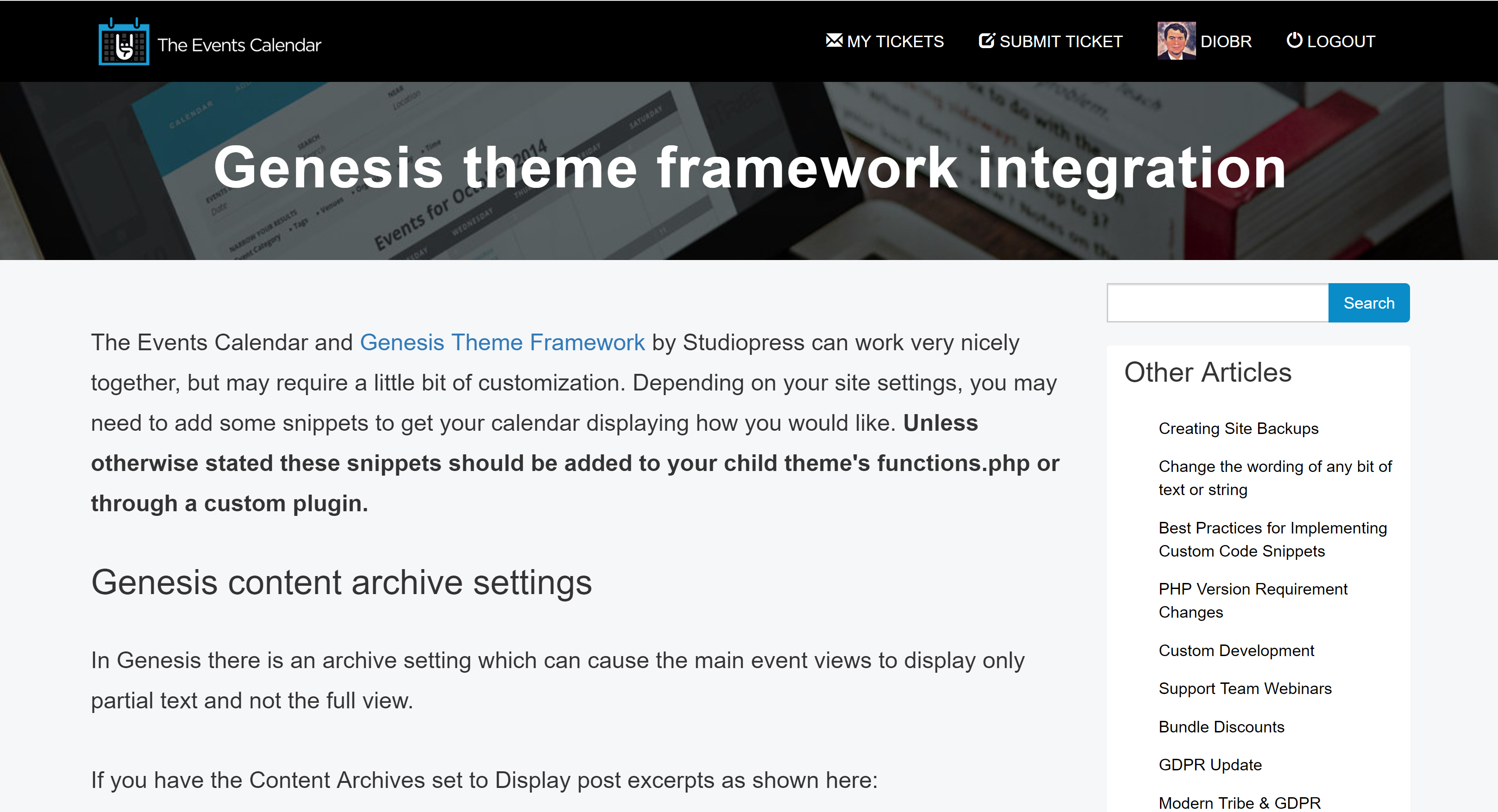 Screenshot of Genesis and Events Calendar Integration Page